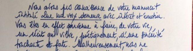 Message in a bottle… Youpi, des nouvelles de mon manuscrit!